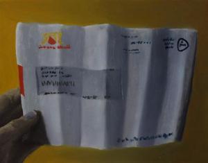 Kijk eens wat de postbode met mijn brief heeft gedaan.
