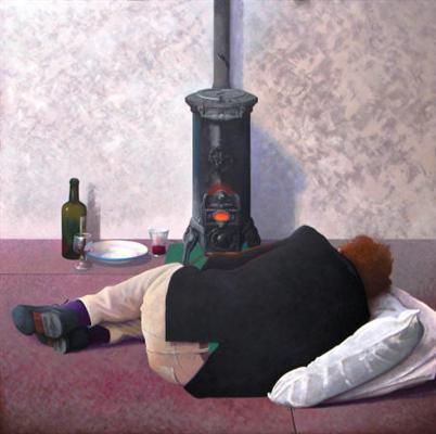 slapende man bij kachel