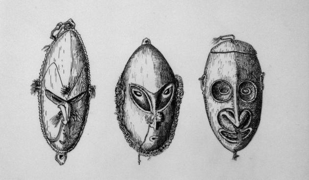 Drie maskers uit de reeks van ca 500 die Brands tekende voor de Amsterdamse Galeriehouder in Etnografica Louis Lemaire
