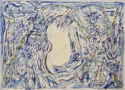 Vanish (Disparaître), 1959. Oil on canvas, 78 3/4 × 110 1/4 inches (200 × 280 cm).  Zeer bijzondere Alechinsky.