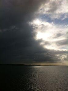 Aan de rand van het water. Aan de rand van het licht. Aan de rand van de wolken. Aan de horizon. Aan de dag die begint in flarden verwaaide wolken en vrijkomend blauw. Aan de verte. Aan mijn hond die met mij spelen wil aan de rand van de dag en het water. 'Kom Bob, we gaan!'